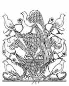 AVES En general, aves y p�jaros, como los �ngeles son s�mbolos del pensamiento y de la imaginaci�n. Dibujo y adaptaci�n de Ex libris personal sobre el original