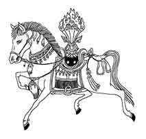 CABALLO DE VIENTO. EN la tradición del budismo tibetano es un símbolo de la idea del bienestar o la buena fortuna, Se supone que trae paz, riqueza y armonía.