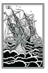 KRAKEN. Pulpo gigante o calamar gigante, es una criatura marina de la mitología escandinava, que ataca a los barcos y devora a los marinos. Dibujo de Ex libris personal sobre el original de Pierre Dénys Montfort (1801)