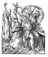 DIANA, DIOSA DE LA CAZA Y DE LA LUNA Diana esposa de Saturno, personifica la energía que anima la tierra. Diosa de la Luna. El ciervo Acteón es devorado por su propia jauría por espiar a la Diosa. Josst Amman Xilografías 1562.Dibujo y adaptación de Ex libris personal sobre el original