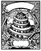TORRE DE BABEL. Babel simboliza los delírios de grandeza del ser humano que con sus medios terrestres quiere tomar el cielo por asalto. Grabado en cobre de J. Boschius,1702. Dibujo y adaptación de Ex libris personal sobre el original