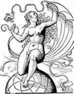 FORTUNA. Josst Amman Xilografía 1562. Dibujo y adaptación de Ex libris personal sobre el original