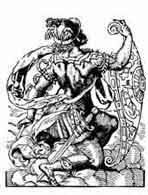 MERCURIO Josst Amman Xilografía 1562 En griego Hermes, antiguo dios del comercio y la industria. Personificación del lucro y tambien dios de los ladrones. Dibujo y adaptación de Ex libris personal sobre el original