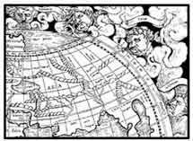VIENTOS. Alegorías de los vientos que soplan de los ángulos del mundo. Geografía de Ptolomeo 1545. (Edición de Basilea) Dibujo y adaptación de Ex libris personal sobre el original