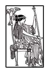 HERA.(Juno) Es la esposa de Zeus, diosa de las mujeres y del matrimonio. Dibujo y adaptación de Ex libris personal sobre el original