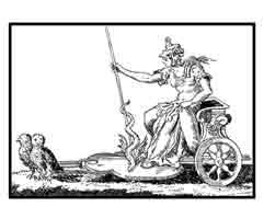 EL CARRO DE MINERVA.Según Cesare Ripa (Italia Siglo XVII). Se pinta armada por que el ánimo del sabio ha de estar siempre vigilante. La lanza simboliza la agudeza del ingenio. Las dos lechuzas que tiran del carro, no sólo se ponen por ser aves consagradas a la diosa, sino por que su visión es como la de Minerva, perfecta en la oscuridad. Dibujo y adaptación de Ex libris personal sobre el original