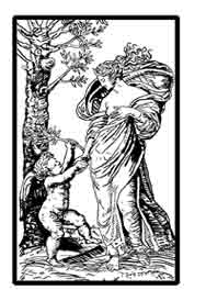 LA RECONCILIACIÓN DE EROS Y AFRODITA. Se trata de un grabado de Raimondi, Afrodita estaba muy enfadada con Eros por desobedecerla y enamorarse de Psique. Dibujo y adaptación de Ex libris personal sobre el original
