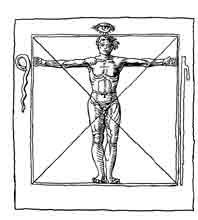 DIAGRAMA MÁGICO. Diagrama del siglo XVI, que representa la figura humana con los símbolos de la magia. Dibujo y adaptación de Ex libris personal sobre el original