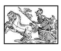 ARES.(Marte)  Dios de la guerra, tambien es protector de las mieses y dios de la juventud, simboliza la fuerza brutal. Dibujo y adaptación de Ex libris personal sobre el original