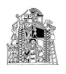 LA TORRE DE BABEL. ARTE MEDIEVAL.  Dibujo y adaptación de Ex libris personal sobre el original