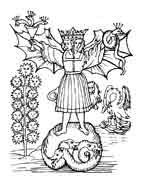 EL ANDRÓGINO.Rosarium Philosophorum 1550. Signo de totalidad, es el estado originario del hombre. La unión de lo masculino y lo femenino, de los opuestos en general. Dibujo y adaptación de Ex libris personal sobre el original