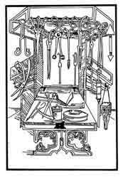Instrumentos de cirugía medieval. Dibujo y adaptación de Ex libris personal sobre el original
