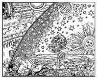 EL HOMBRE QUE MIRA EL UNIVERSO. Grabado del siglo XVII Alemania. Anónimo. Dibujo y adaptación de Ex libris personal sobre el original