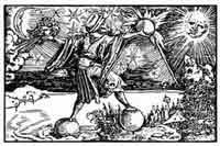 LOS CUARTO ELEMENTOS. El hombre en el punto crucial de los cuatro elementos. H. Weiditz en la Historia naturalis de Plinio, Francfort. 1587. Dibujo y adaptación de Ex libris personal sobre el original