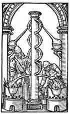 ALQUIMÍSTAS TRABAJANDO. Philip Ulstadt, De Secretis Naturae 1544. Dibujo y adaptación de Ex libris personal sobre el original