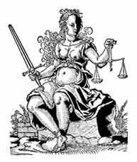 ALEGORÍA DE LA JUSTICIA. Sostiene con una mano la balanza (peso del bien y del mal, equilibrio) y la espada (Decisión psiquica, palabra de Dios). Josst Amman Xilografía 1562. Dibujo y adaptación de Ex libris personal sobre el original