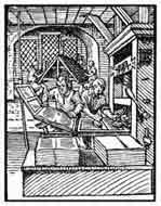 IMPRENTA.De el libro de los oficios (Ständebuch).1558. Nuremberg. Dibujo y adaptación de Ex libris personal sobre el original