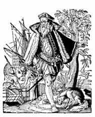 EL MERCADER. Josst Amman Xilografía 1562. Dibujo y adaptación de Ex libris personal sobre el original