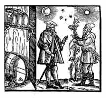 VINATEROS. Portada del Weinbuch de Johann Rasch (1582). Dibujo y adaptación de Ex libris personal sobre el original