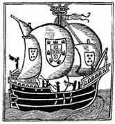 Nao portuguesa. Libre de Consolat 1523. Museo marítimo del Cantábrico. Dibujo y adaptación de Ex libris personal sobre el original