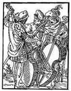 MÚSICOS De el libro de los oficios (Ständebuch).1558. Nuremberg. Dibujo y adaptación de Ex libris personal sobre el original