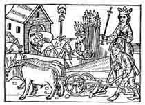 AGRICULTURA Molino, hoz y arado. Del incunable de Boccaccio, Ulm, 1473. Dibujo y adaptación de Ex libris personal sobre el original