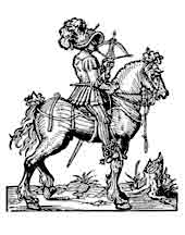 CABALLERO  Con ballesta, Josst Amman Xilografía 1562. Dibujo y adaptación de Ex libris personal sobre el original