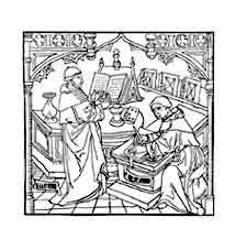 DIALOGUS MAGISTRI GUILLELMI DE OCKHAM. Grabado del Dialogus de Imperio et Pontificia Potestate (1494). Dibujo y adaptación de Ex libris personal sobre el original