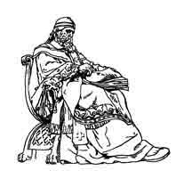 SAN ISIDORO DE SEVILLA Dibujo sobre la estatua que adorna la escalinata de la Biblioteca Nacional 1892 (Madrid) Alcoverro. Dibujo y adaptación de Ex libris personal sobre el original
