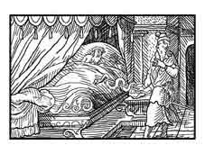 Esculapio. Virgilius Solis S.XVI. Dibujo y adaptación de Ex libris personal sobre el original