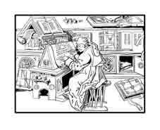 ESCRIBANO. Arte medieval. Dibujo y adaptación de Ex libris personal sobre el original
