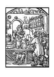 FARMACEUTICO. De el libro de los oficios (Ständebuch) 1558. Nuremberg. Dibujo y adaptación de Ex libris personal sobre el original