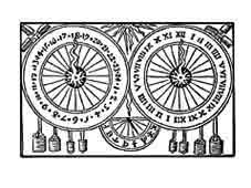 Petrus Astronomus. Relog Astronómico de la catedral de Uppsala. Olaus Magnus. Dibujo y adaptación de Ex libris personal sobre el original