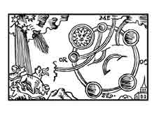 EL COMETA. De circulis repentinis & effectibus cometarum. Olaus Magnum, S.XVI. Dibujo y adaptación de Ex libris personal sobre el original
