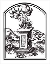LA SALUD PÚBLICA. Dibujo de ex libris personal, sobre el emblema de Alciato.El hijo de Febo se halla en unos altares erigidos en Epidauro y aunque benigno, este dios se oculta en una serpiente mostruosa. Dibujo y adaptación de Ex libris personal sobre el original