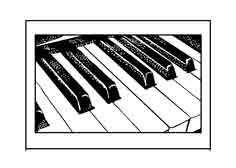 PIANO. Dibujo de Ex Libris Personal