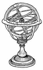 ESFERA ARMILLAR. Representación del universo con la tierra como centro. Dibujo Ex Libris Personal