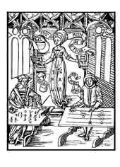 ARITMETICA. De Gregor Reisch (1467-1525). Boecio y Pitágoras, hacen una competición, el segundo utilíza el ábaco y Boecio emplea numerales indios, ha terminado mientras que Pitágoras sigue intentando encontrar la solución. Dibujo y adaptación de Ex libris personal sobre el original
