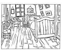 Vincent van Gogh. Dormitorio en Arles 1888. Dibujo y adaptación de Ex libris personal sobre el original