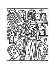 Escolar Renacentista. Dibujo y adaptación de Ex libris personal sobre el original