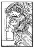 ANGEL TOCANDO EL FAGOT. Sir Edward Burne-Jones 1878. Dibujo y adaptación de Ex libris personal sobre el original