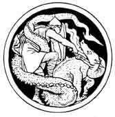 SAN JORGE Matando al Dragón. Dibujo y adaptación de Ex libris personal sobre el original