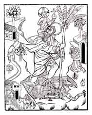 SAN CRISTÓBAL transporta a Cristo sobre sus hombros. Grabado en madera, Buxheim, 1531. Dibujo y adaptación de Ex libris personal sobre el original