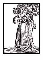 LA AMISTAD.Del libro de Iconografía de Cesare Ripa Italia Siglo XVII. Una mujer muestra el corazón donde se ve la frase \