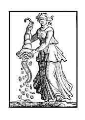 PRODIGALIDAD. Una mujer aparece con los ojos vendados, por que gasta sin guiarse de la razón sus bienes y riquezas, dispensando locamente a quien no los merece.