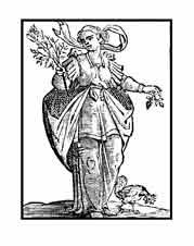 DILIGENCIA. Del libro de Iconografía de Cesare Ripa Italia Siglo XVII. En sus manos lleva una rama de almendro y uno de morera, el almendro es el primer árbol en florecer y la morera el último, quiere significar que es preciso reunir la solícita diligencia con alguna tardanza. Así el sabio reúne la presteza con la tardanza y esto es la diligencia.