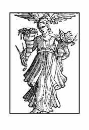 LIBERALIDAD.Del libro de Iconografía de Cesare Ripa Italia siglo XVII. Lleva sobre la cabeza un águila, la más liberal entre las aves. Los cuernos de la abundancia nos indican que esta es necesaria para que se produzca la liberalidad. El compás nos muestra que debe medirse y calcularse en proporción a los bienes y el mérito de la persona sobre la que se ejerce.