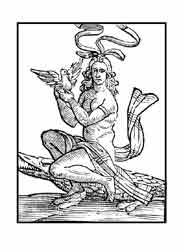 LA LUJURIA. Del libro de Iconografía de Cesare Ripa Italia Siglo XVII. Es un ardiente y desenfrenado apetito de la carnal concupiscencia, que no observa leyes. Se representa con los cabellos ondulados artificiosamente y desnuda por que es incitadora y destruye no sólo los bienes del ánimo, sino también los bienes de fortuna. Esta sentada sobre un cocodrilo, por ser este de contagiosa libidinosidad y sostiene una perdiz en sus manos por ser este animal muy desenfrenado.