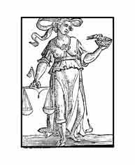 IGUALDAD.Del libro de Iconografía de Cesare Ripa Italia Siglo XVII. Con la balanza se simboliza la recta  y verdadera Justicia, que es la que otorga a cada uno lo que le corresponde. El nido de golondrinas nos hable de esta ave que con mucha igualdad a todos nutre y alimenta.