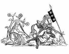 HACIENDO LA CORTE. Miniatura de un salterio latino, finales del siglo XIII. Dibujo y adaptación de Ex libris personal sobre el original